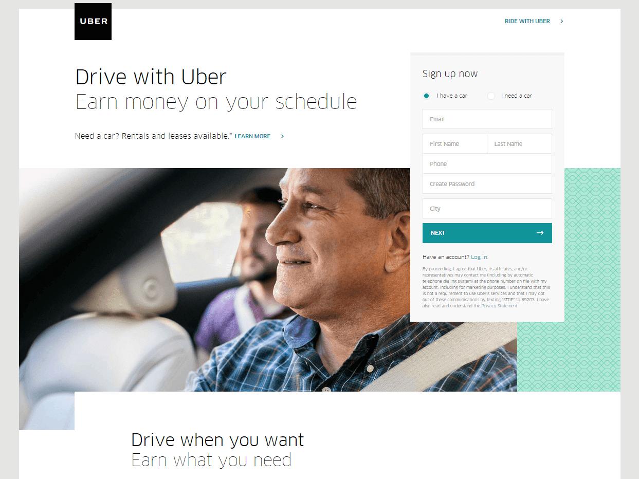Uber создание сайта создания мини сайта
