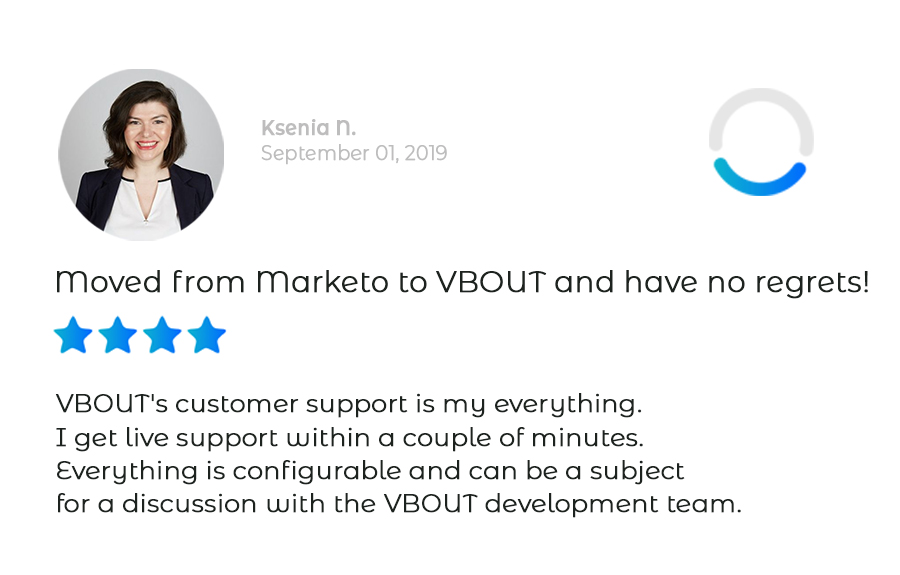 Customer review from a client coming from Marketo