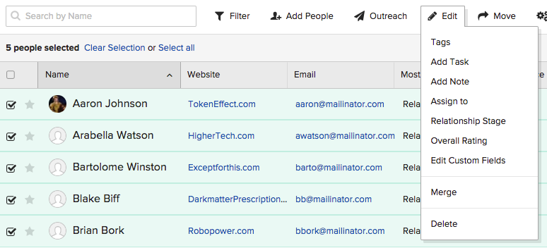 Browse influencers add contacts - Buzzstream