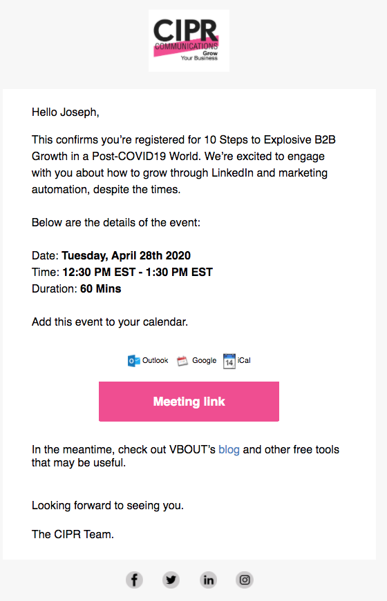Webinar email confirmation