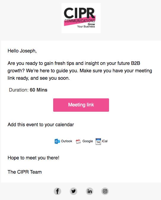 Webinar email reminder