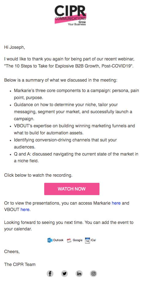 Post webinar email