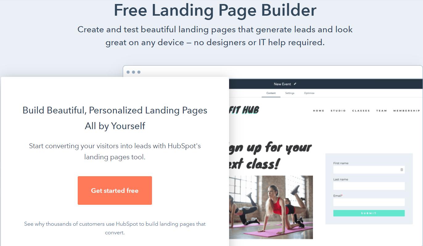 HubSpot landing page builder
