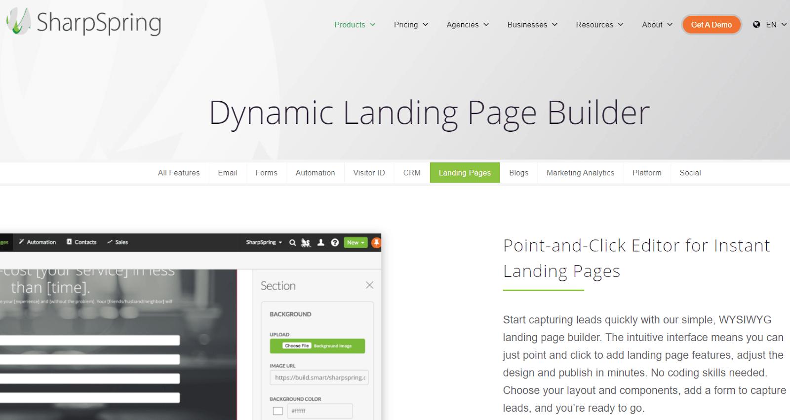 SharpSpring landing page builder