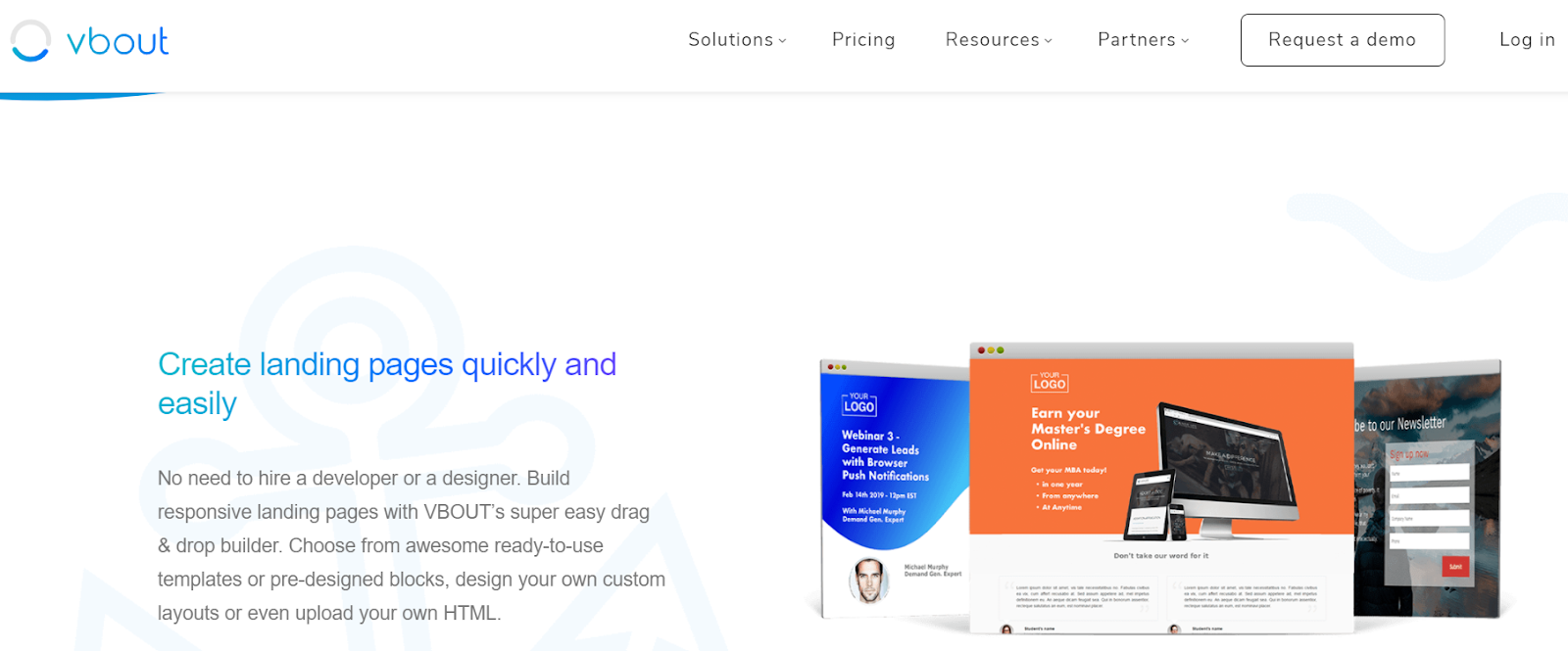 VBOUT's landing page builder