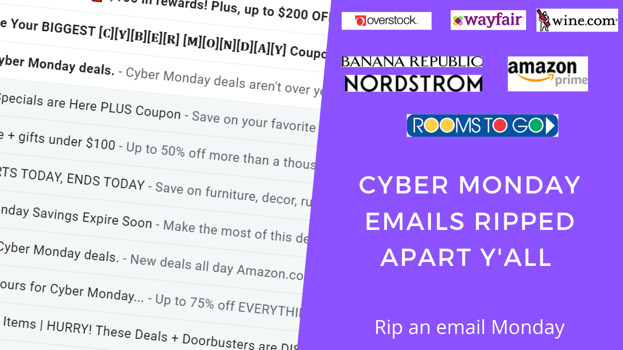 Cyber Monday emails from big brands