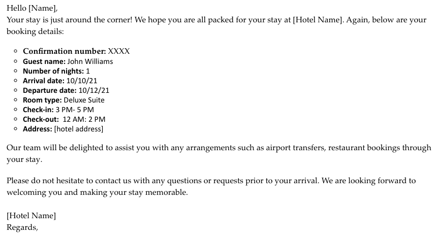 Hotel reservation confirmation email
