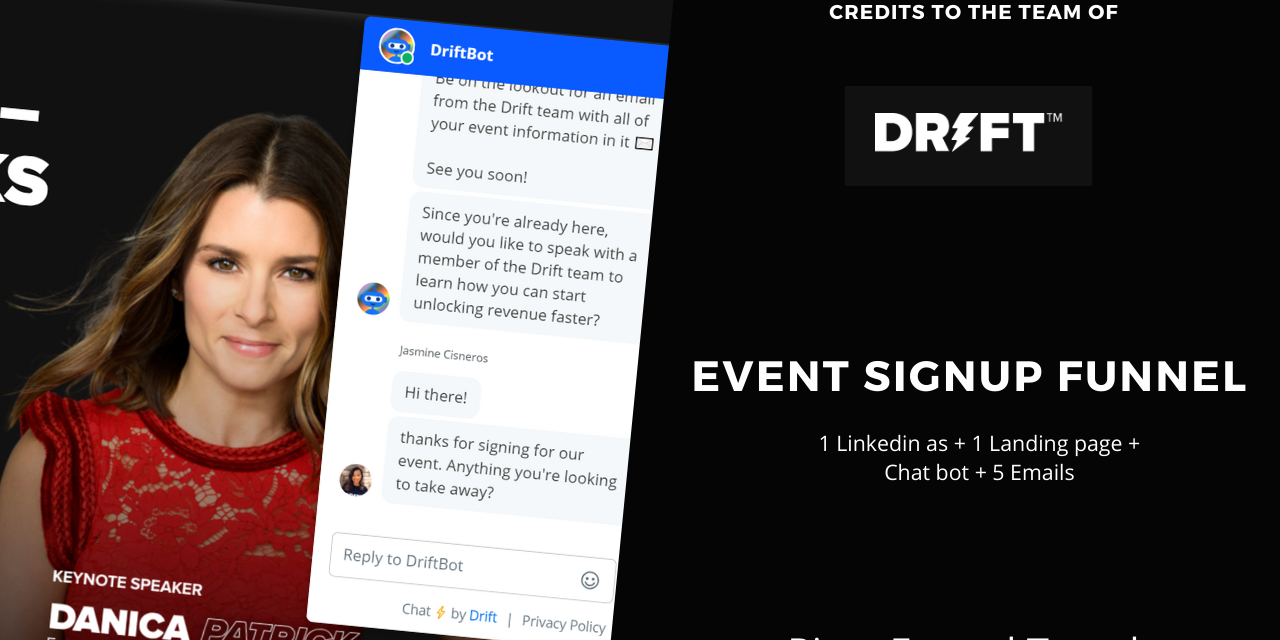 Event signup funnel by drift