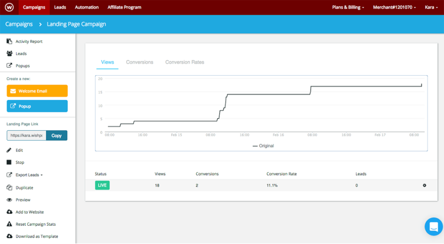 WishPond's dashboard, displaying data on views and conversion rates.